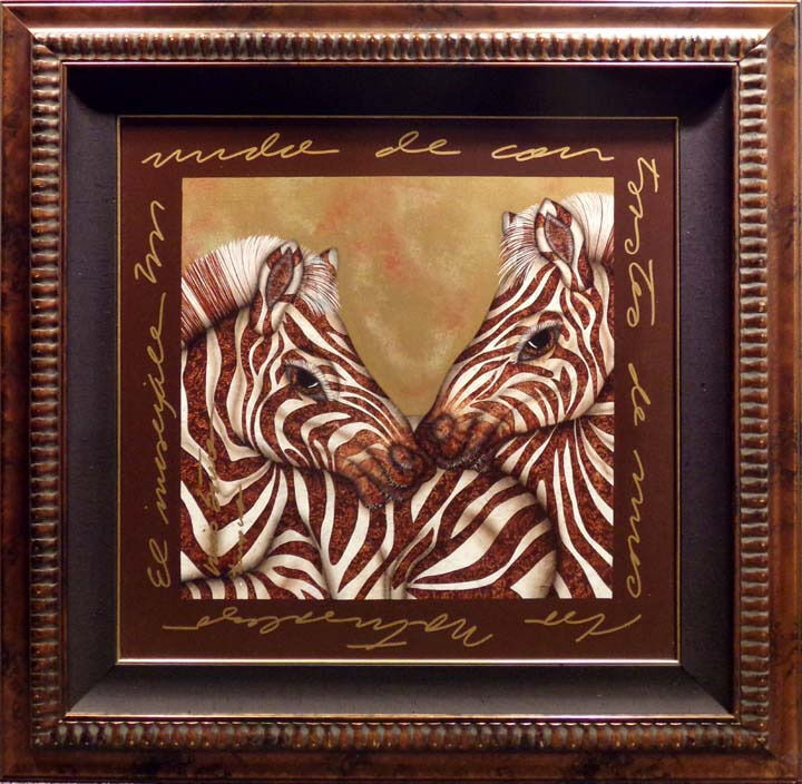"Luis Sottil ""Small Interaction of COntrast"" ZEBRA brwon Zebra on Canvas framed"
