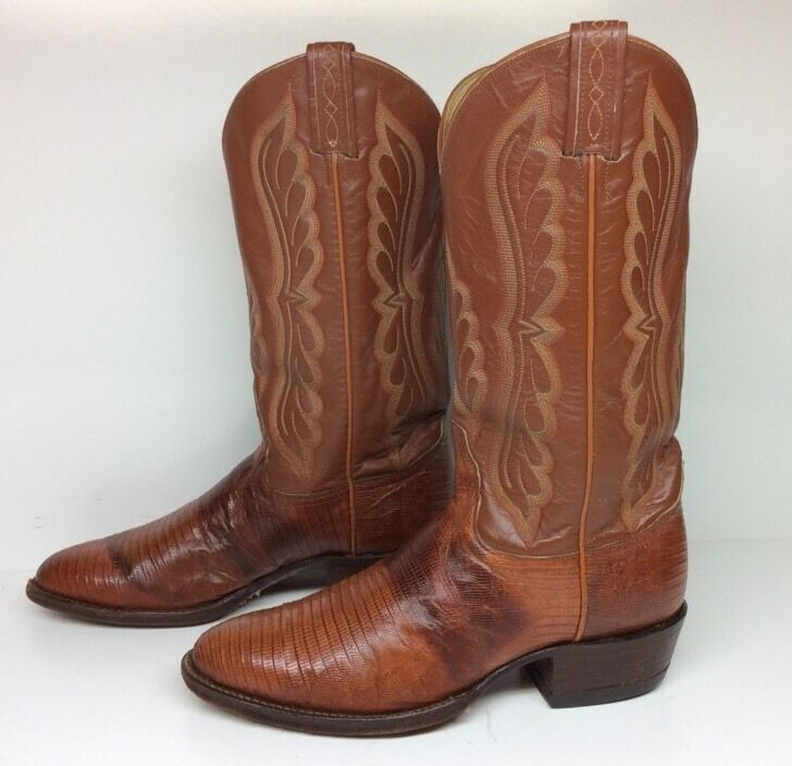 #18, MENS, TONY, LAMA, COWBOY, LIZARD, SKIN, LEATHER, BROWN, BOOTS, SIZE, 8, E