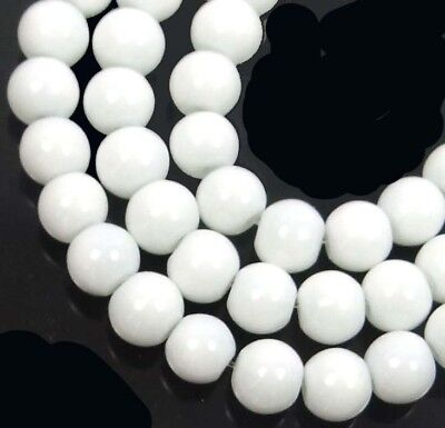 50 Czech Glass Round / Rocaille Beads - Opaque White 6mm