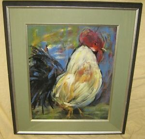 Vintage Signed Original Abstract Rooster  (Acrylic)