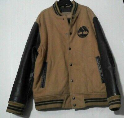 TIMBERLAND COWHIDE LEATHER MEN BOMBER JACKET DARK/LIGHT BROWN m? l?  (Men Cowhide Leather)