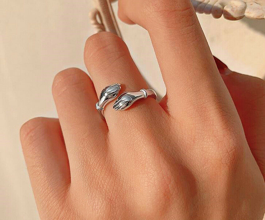 Jewellery - Love Hug Adjustable Ring S 925 Sterling Silver Women Girl Jewellery Love Gift UK