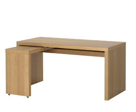 Office Desk - MALM Ikea in oak vaneer with optional pull out - still for sale 23/1/17! must sell!