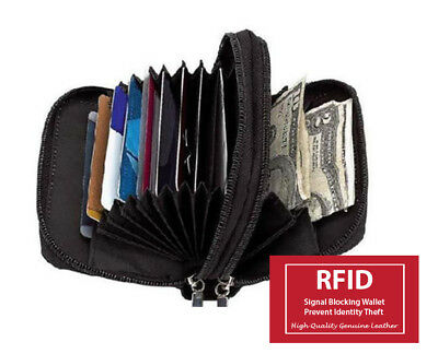 (RFID Blocking Accordion Card ID 2 Zip Lady's Leather Secretary Wallet Coin Purse)