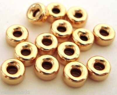 30pcs 4mm Yellow 14k gold filled seamless donut roundel bead spacer shiny GB34