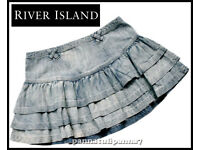 RIVER ISLAND Brand New Blue Denim Rara Skirt size 12 RRP £25