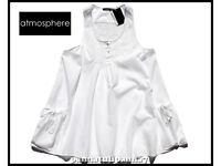 ATMOSPHERE Primark Brand New White Top Blouse 100% cotton size 8