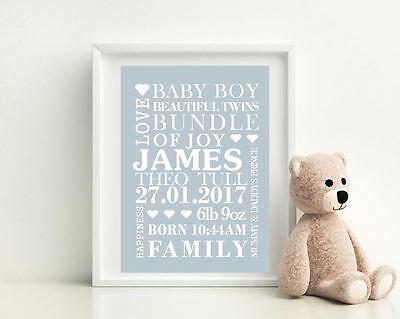 Personalised A4 Glossy Poster Baby BOY  Birth, Nursery, Newborn Print Art Gift