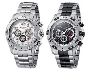 Elgin-1863-Mens-Stainless-Steel-Chronograph-Watch-Choice-of-Two-Styles