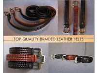 Top quality braided leather belt for men