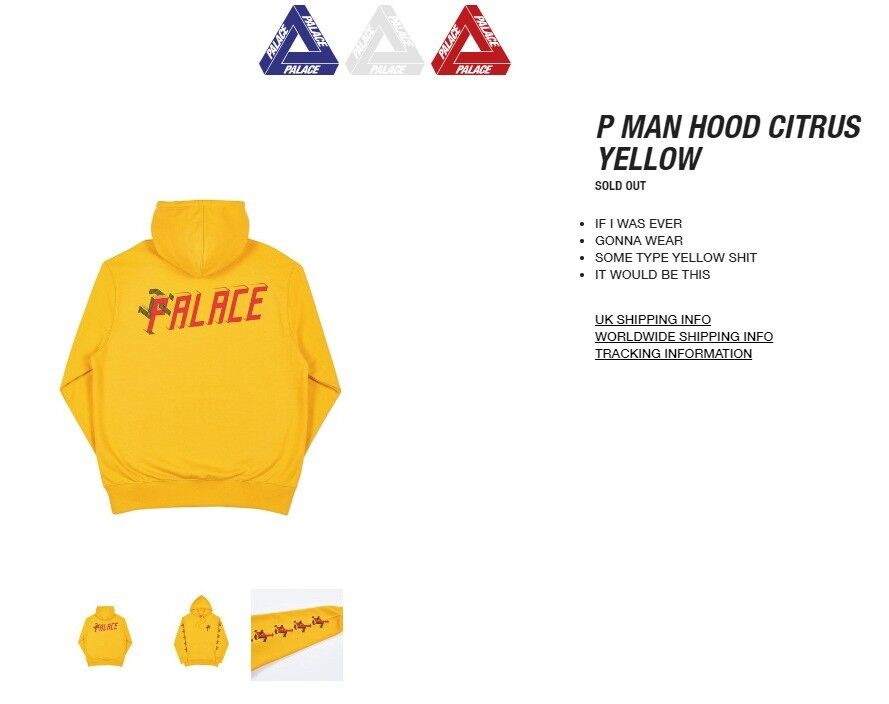 922fa0e69b32 Palace P Man Hoodie Citrus Large Brand New DEADSTOCK