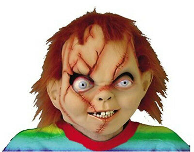 EVIL SEED OF CHUCKY DOLL DELUXE LATEX FULL MASK WITH RED HAIR COSTUME 6003B