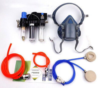 3 In 1 Painting Spray Supplied Air Fed Respirator System 7502 Half Face Gas Mask