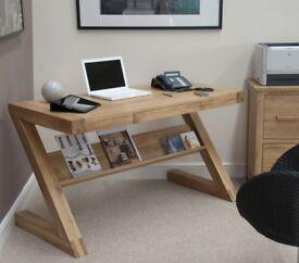 Z Designer Solid Oak Desk - Brand New Boxed