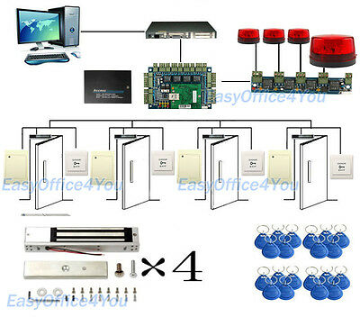 4 Doors Mag Lock Acs Access Control System Kits Meets Usa Fire Code Requirement