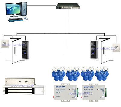 2 Doors Biometric Fingerprint & RFID Security Access Control Systems & Mag Lock