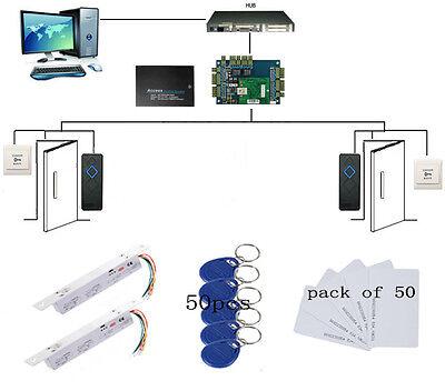 2 Door Access Control Board Security System Kit+Deadbolt Electric Drop Bolt Lock