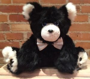Hand Made Black and White Rabbit Fur Teddy Bear