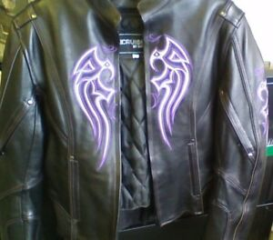 ladies leather jacket with purple accents