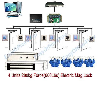 Proximity Rfid Keypad Readers Full 4 Door Access Control Systems600 Lbs Maglock