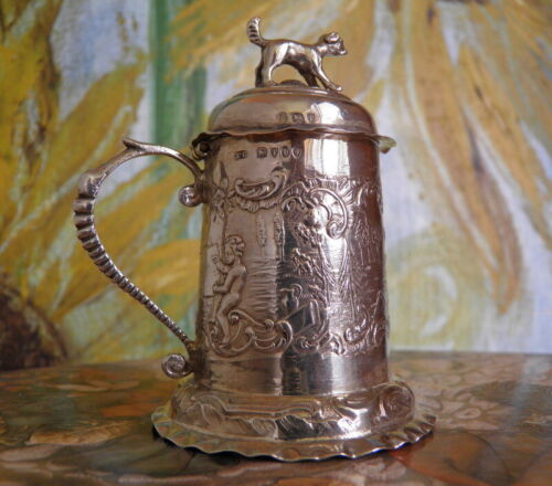 Antique London Sterling Condiment Stylized Lidded Tankard Vessel