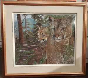 "animal painting, 2 cougars hunting, 20"" X 24"", artist Bélivea"