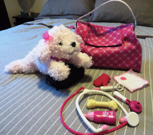 Barbie talking Fr/Eng 'Hug 'n Heal Puppy' and accessories