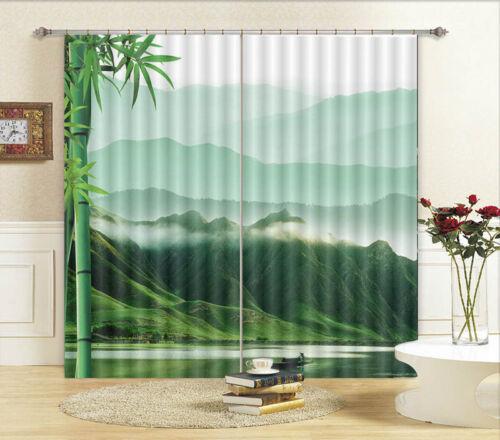 Montagna Di Bambù Verde 3D Tenda Bloccare Foto Stampa Tendaggio Drappo Tessuto
