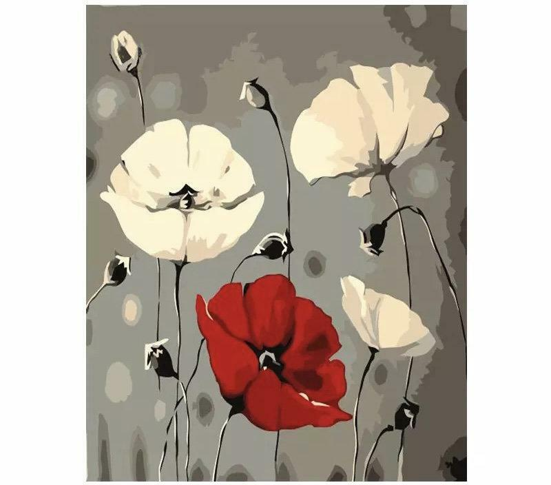 Paint by Numbers Kit - DIY Painting Kit - Gift Idea - Poppies - 3 Sizes