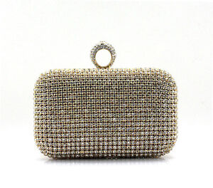 Gold Rhinestone Evening Clutch Ring Purse Bag Handbag