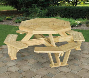 Handcrafted Cedar Octagon Picnic Table for Missions