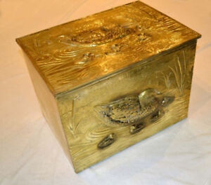 Antique Large Victorian Brass Over Wood Coal Scuttle Storage Box