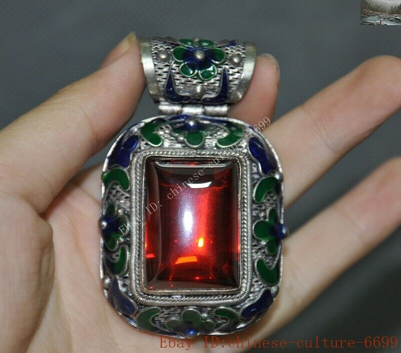 chinese tibetan silver Cloisonne Inlay Sapphire Blue Gem flower Pendant Jewelry