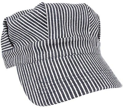 Train Conductor Hat Striped Engineer Cap Blue Hickory Stripe Railroad - Conductor Hat