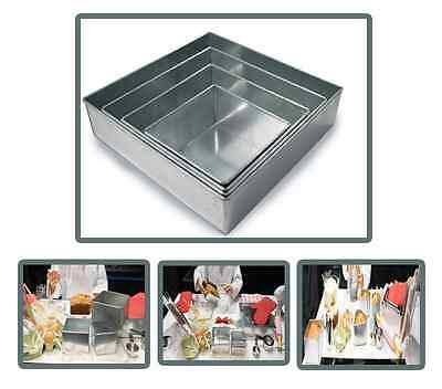 "Set of 4-piece square cake baking pans by Euro Tins 6, 8, 10 & 12 Inch (3"" deep)"