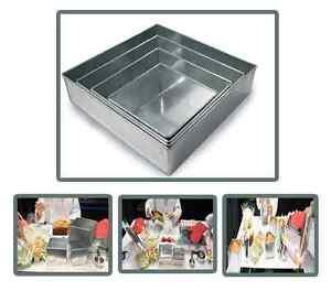 Set of 4-piece square cake baking pans by Euro Tins 6, 8, 10 & 12 Inch (3