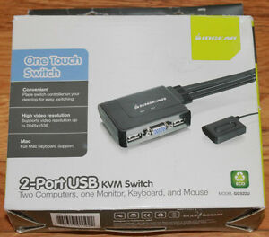 New IOGear 2 Port USB KVM Switch Model GCS22U