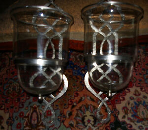 Pair of HUGE Nickel Hurricane Candle Sconces- virgin condition West Island Greater Montréal image 2