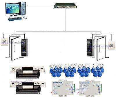 2 Doors Biometric Fingerprint Entry Access Control Systems Kit ANSI Strike Lock