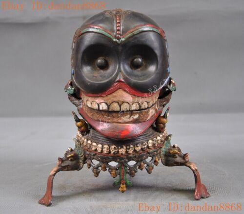 old Tibetan Buddhism temple Bronze color painted Devil Skull death-head statue