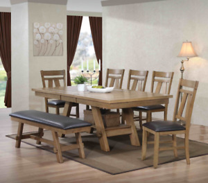 Cypress dining set, includes 4 chairs and a 5 foot bench, NEW