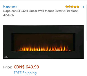 "Napoleon 42"" electric fireplace wallmount"
