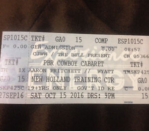 4 events tickets/ 2 PBR Cowboy Cabaret / 2 Saskatoon Blades
