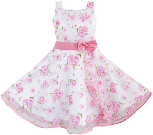 3-Layers-Girls-Dress-Pink-Flower-Wave-Pageant-Wedding-Kids-Clothing-SZ-4-12-NWT