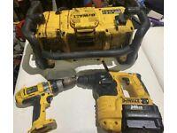 Drills Dewalt tools Workshop Radio, & 2 drills
