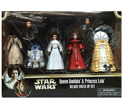 STAR WARS QUEEN AMIDALA & PRINCESS LEIA FIGURES DELUXE DRESS UP SET Disney Parks