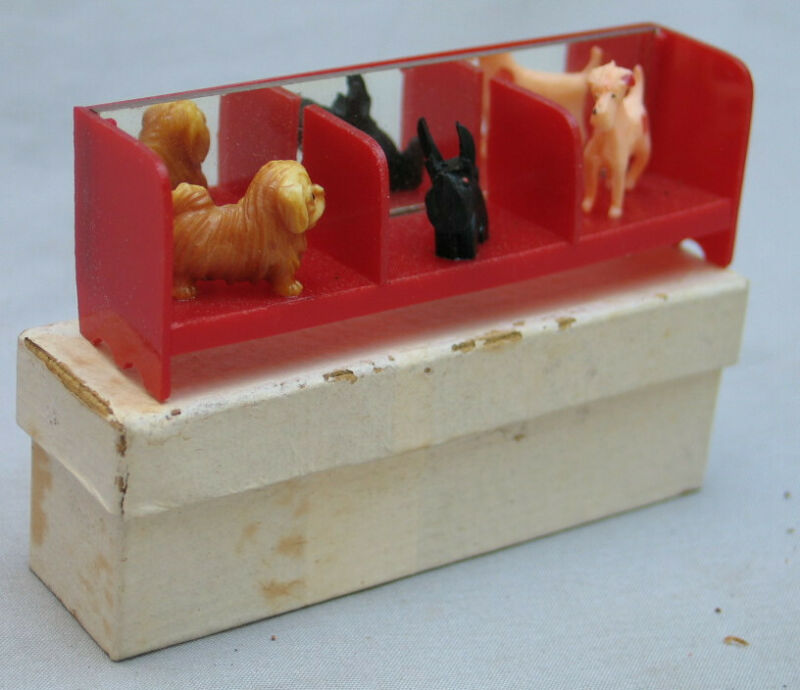 Vintage Miniature Dog Display with Original Box -  Made in Japan