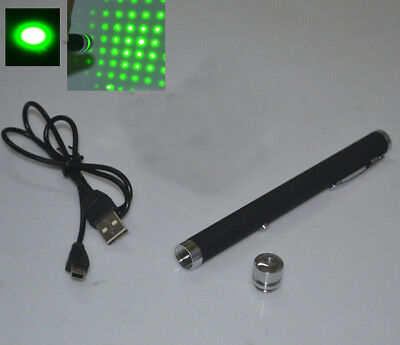 USB or AC Direct-Rechargeable Power 532nm Green Laser Pointer Pen With Star Cap