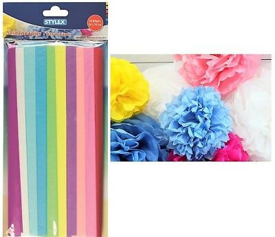 20 Bögen Seidenpapier 50 x 70 cm farbig sortiert Tissue paper