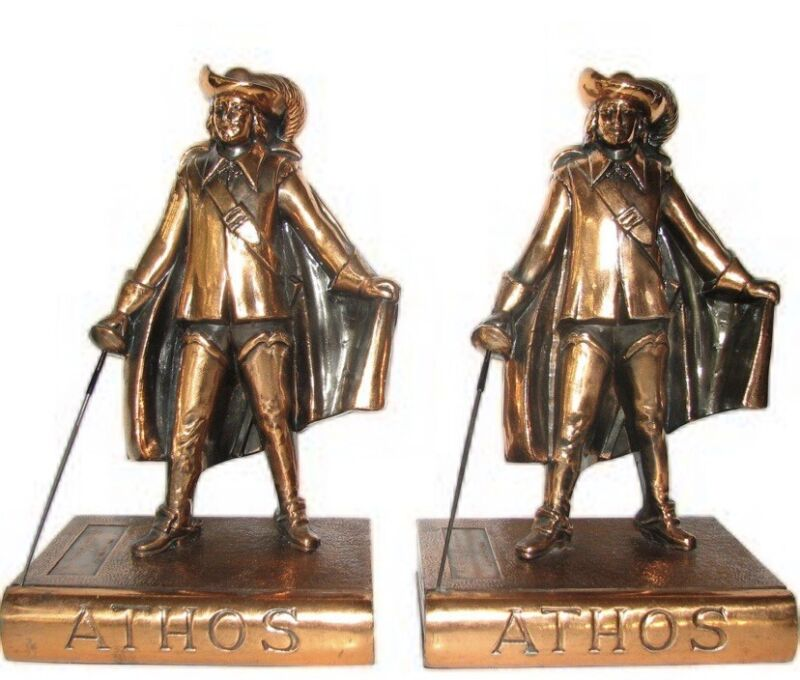 """Rare Vintage Athos """"Three Musketeers"""" by Alexandre Dumas Bookends - 8 1/2""""- Mint"""